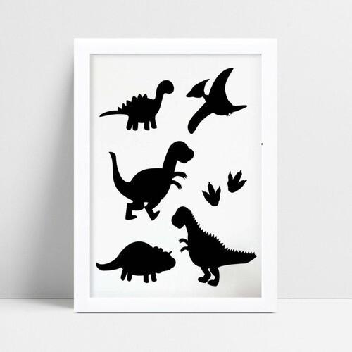 Quadro Quadro Decoração Infantil silhuetas dinossauros preto