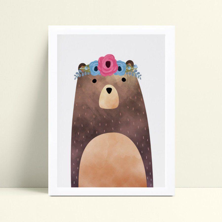 Quadro Quadro Decoração Infantil urso arco floral