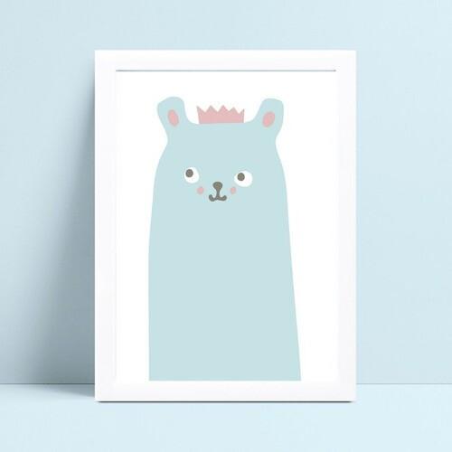 Quadro Quadro Decoração Infantil urso azul coroa princesa