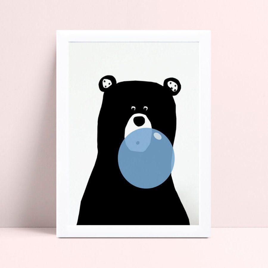 Quadro Quadro Decoração Infantil urso bola chiclete azul