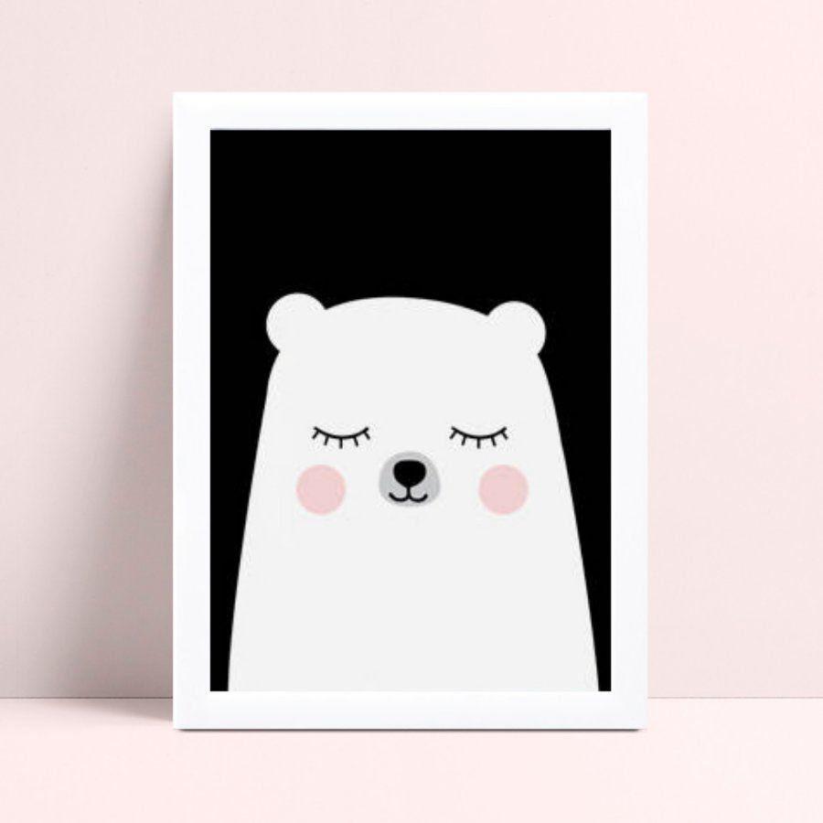 Quadro Quadro Decoração Infantil urso branco