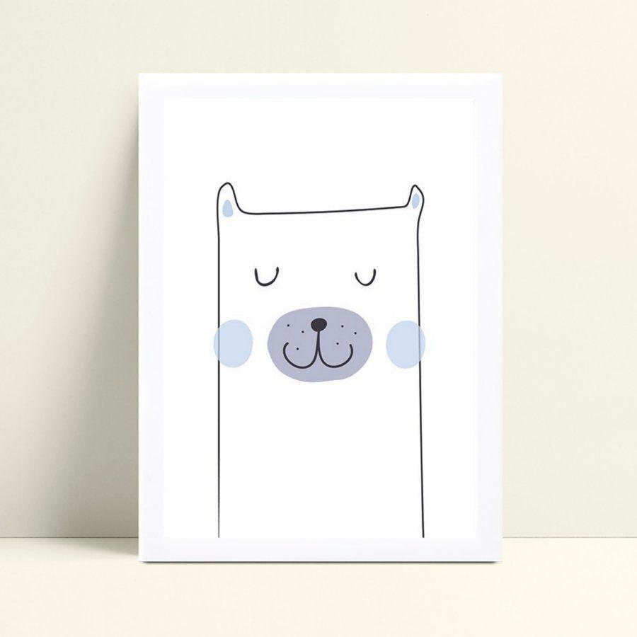 Quadro Quadro Decoração Infantil urso branco e azul