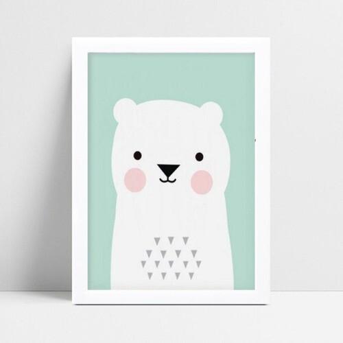 Quadro Quadro Decoração Infantil urso branco e verde