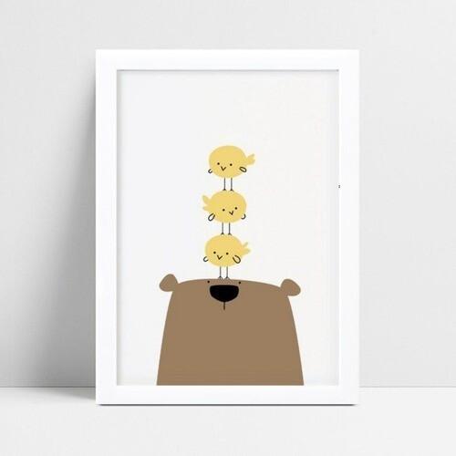 Quadro Quadro Decoração Infantil urso pássaros
