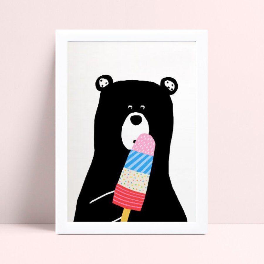 Quadro Quadro Decoração Infantil urso preto picolé colorido