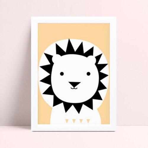 Quadro quadro decoração leão preto e laranja
