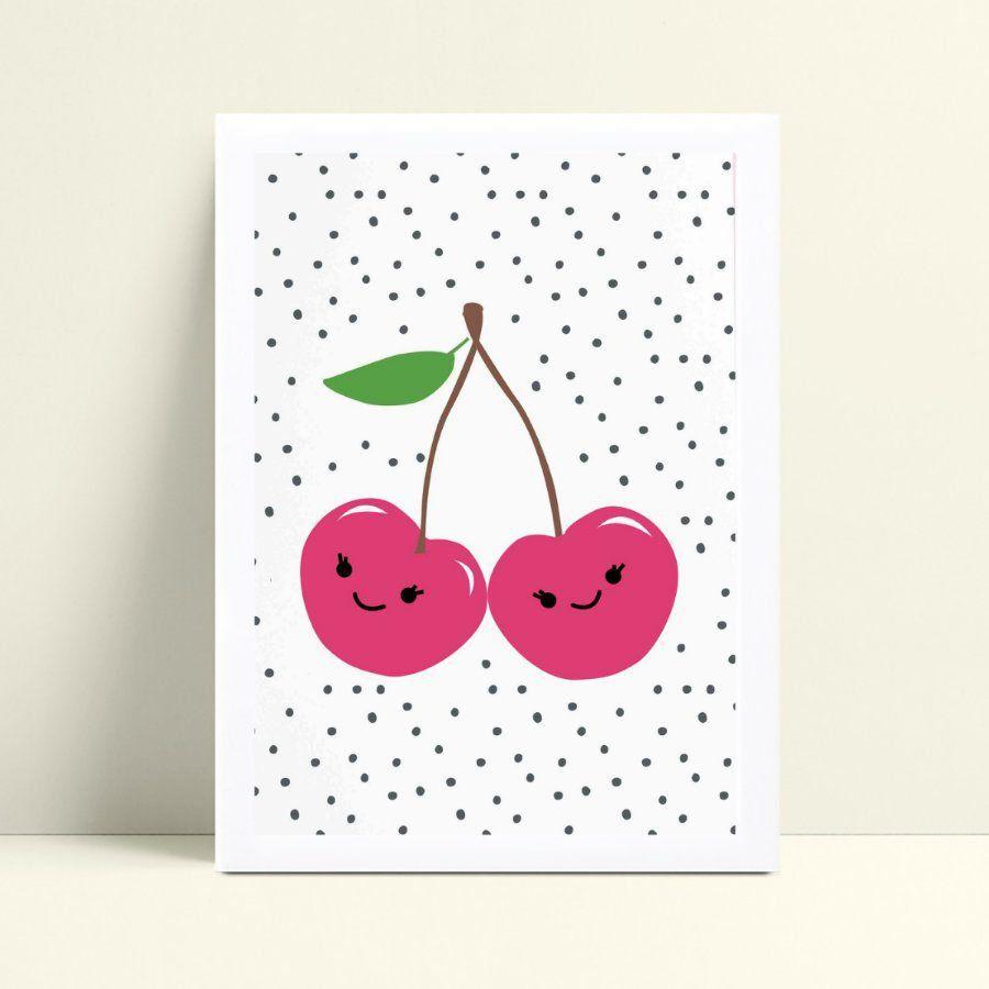 Quadro quadro decoração menina cerejas rosa bolinhas preta