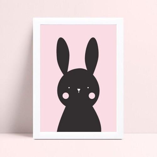 Quadro quadro decoração menina coelho preto e rosa