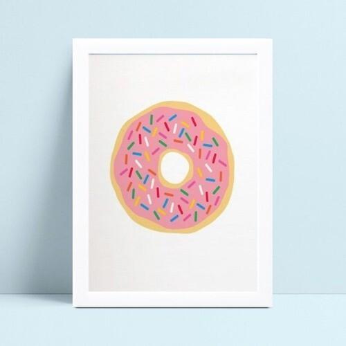 Quadro quadro decoração menina desenho donut rosa