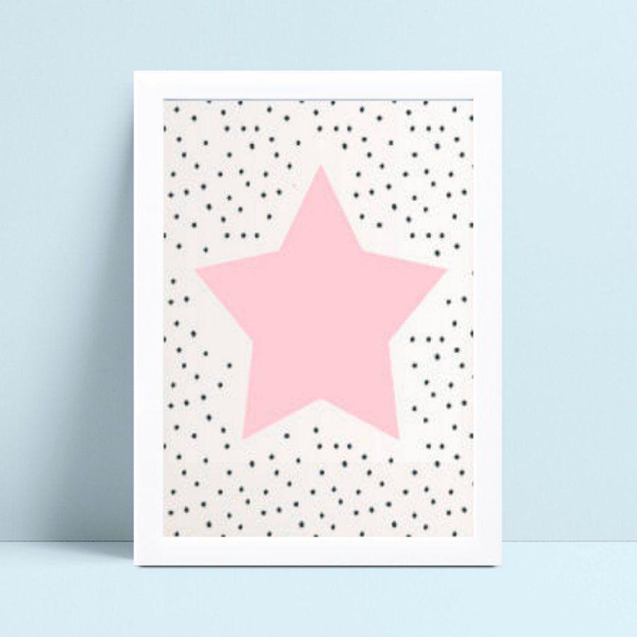 Quadro quadro decoração menina estrela rosa