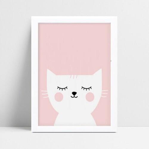 Quadro quadro decoração menina gato branco e rosa