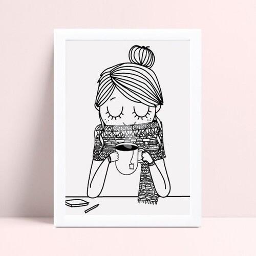 Quadro quadro decoração menina tomando café