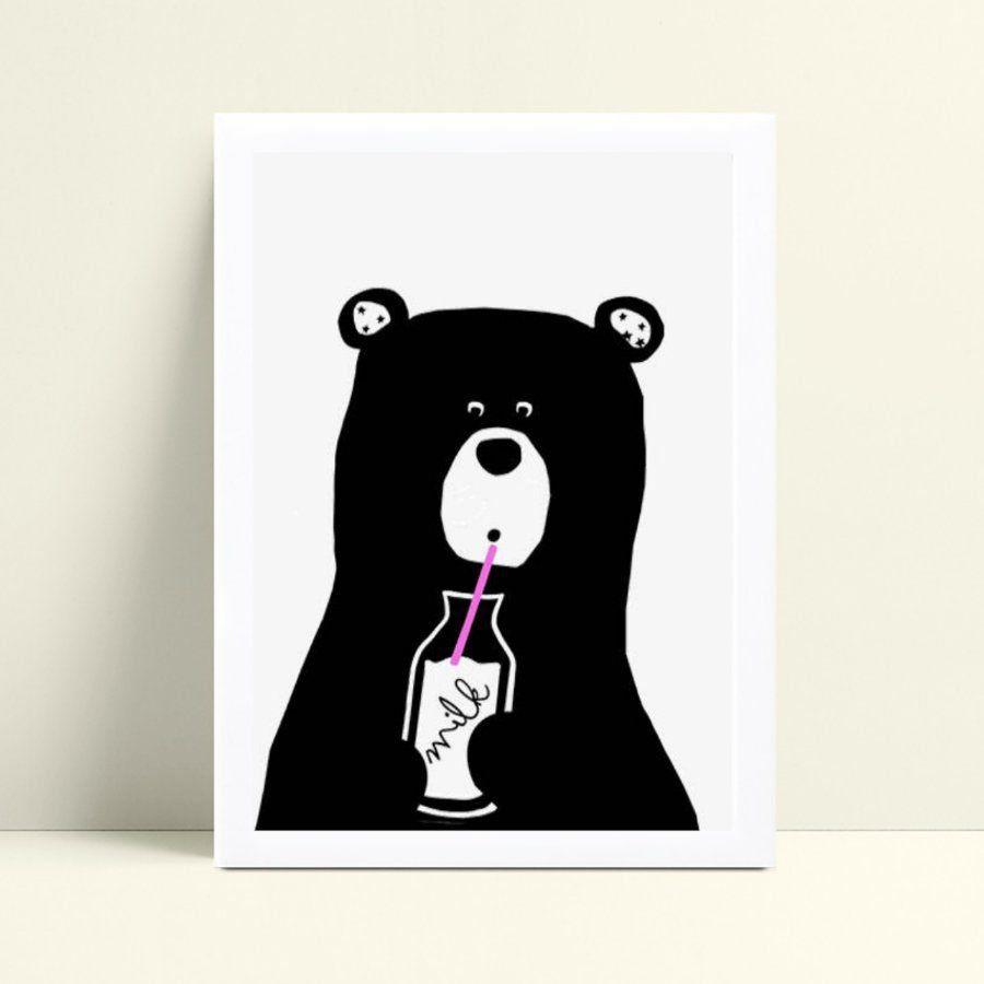 Quadro quadro decoração menina urso bebendo leito