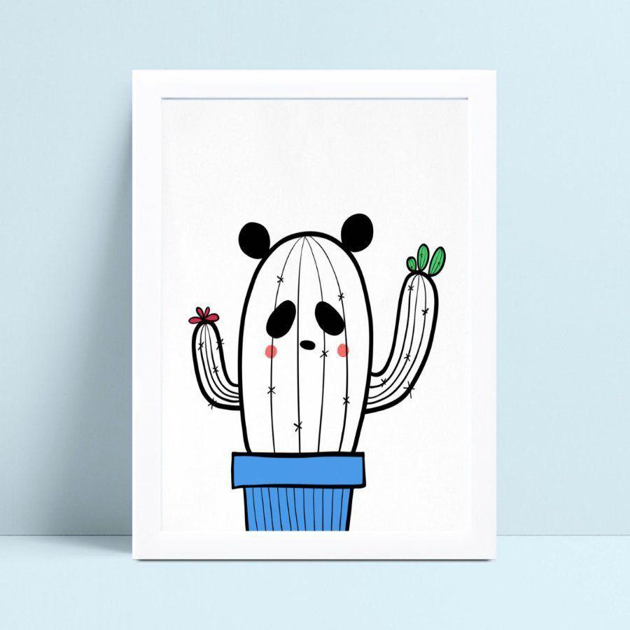 Quadro quadro decoração menino desenho cacto panda