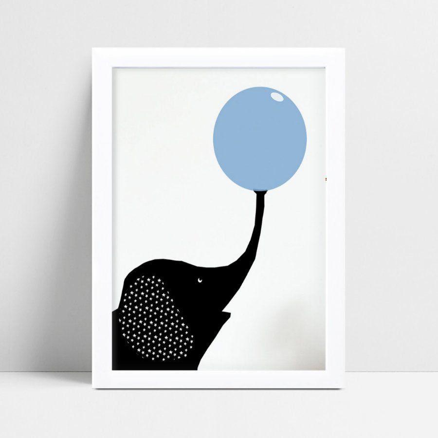 Quadro quadro decoração menino elefante preto bola azul