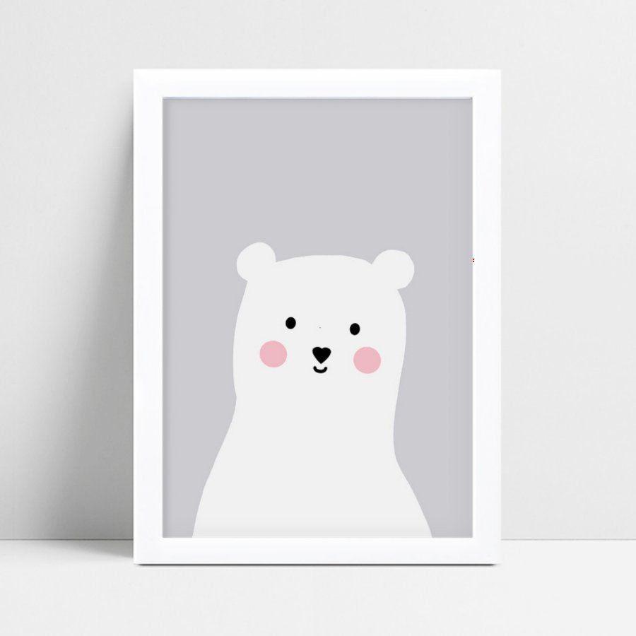 Quadro quadro decoração menino urso branco