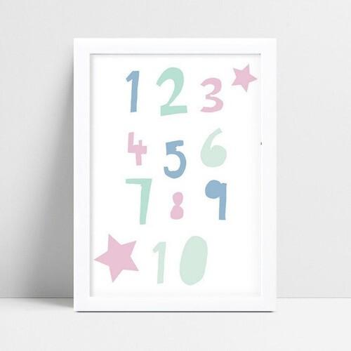 Quadro quadro decoração números numerais coloridos