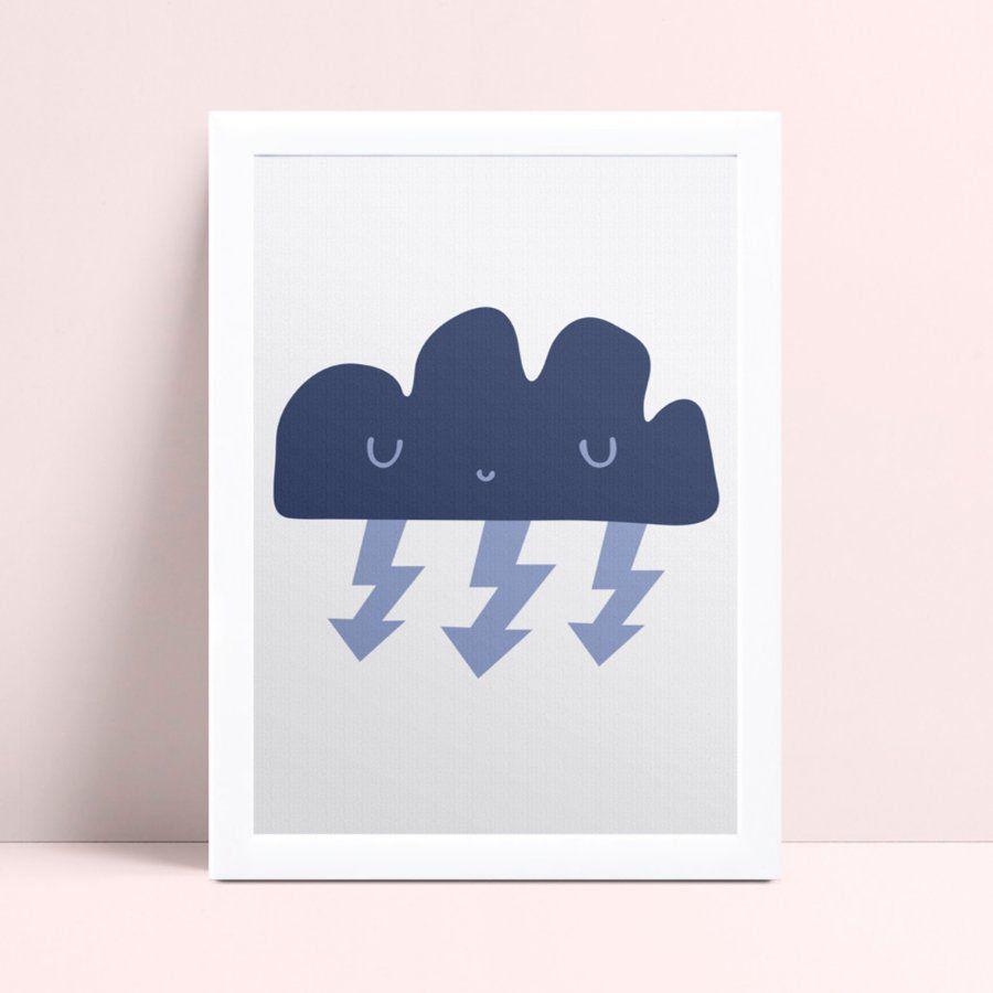 Quadro quadro decoração nuvem azul