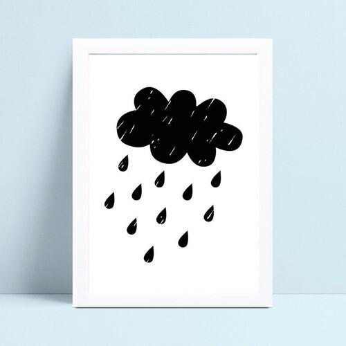 Quadro quadro decoração nuvem chuva preto