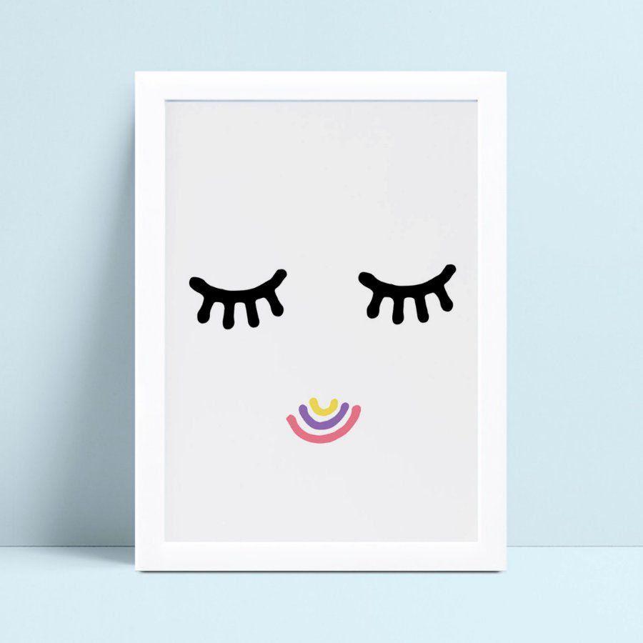 Quadro quadro decoração olhos fechados boca colorida