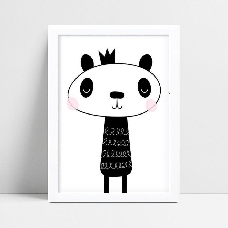 Quadro quadro decoração panda coroa príncipe p&b