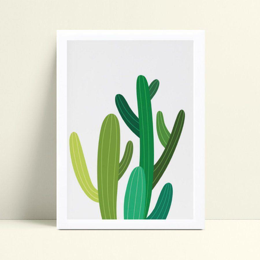 Quadro quadro decoração planta cactos verde