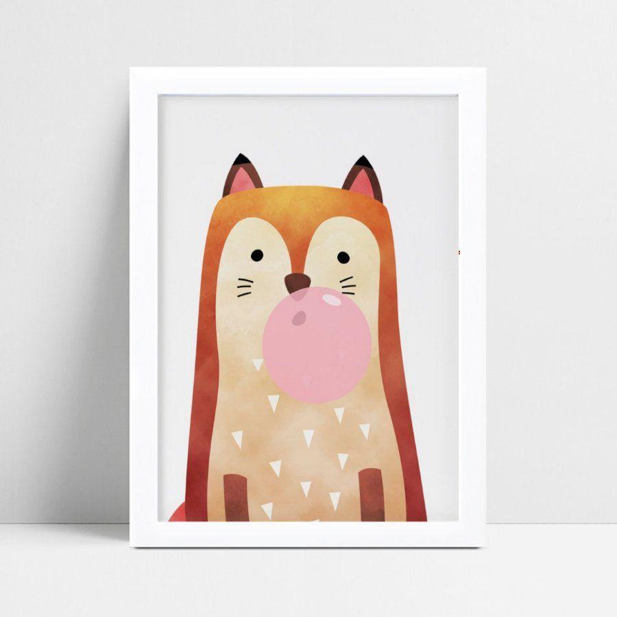 Quadro quadro decoração raposa mascando chiclete