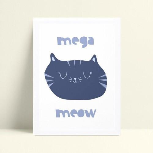 Quadro quadro decoração rosto gato azul