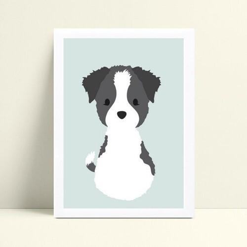 quadro quadro infantil animal cachorro border collie
