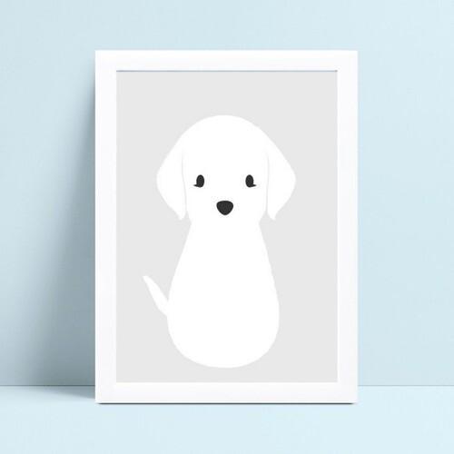 quadro quadro infantil animal cachorro filhote branco