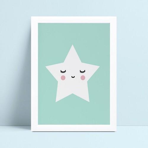 quadro quadro infantil azul estrela branca