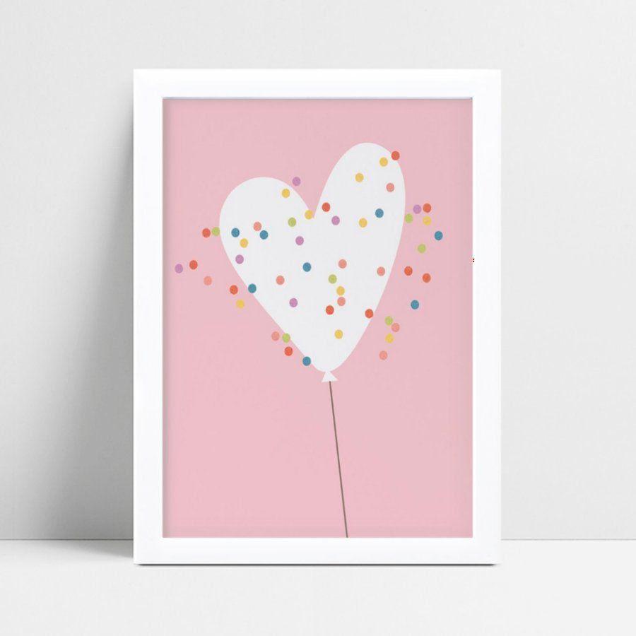 Quadro Quadro Infantil Bebê balão de coração confetes color