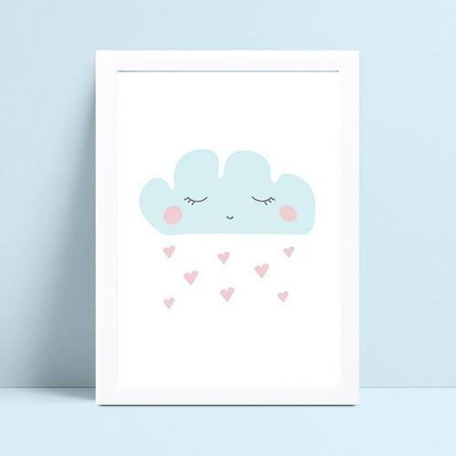 Quadro Quadro Infantil Bebe nuvem azul chuva corações rosa