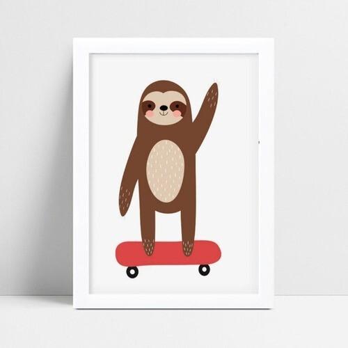 Quadro Quadro Infantil bicho preguiça andando de skate