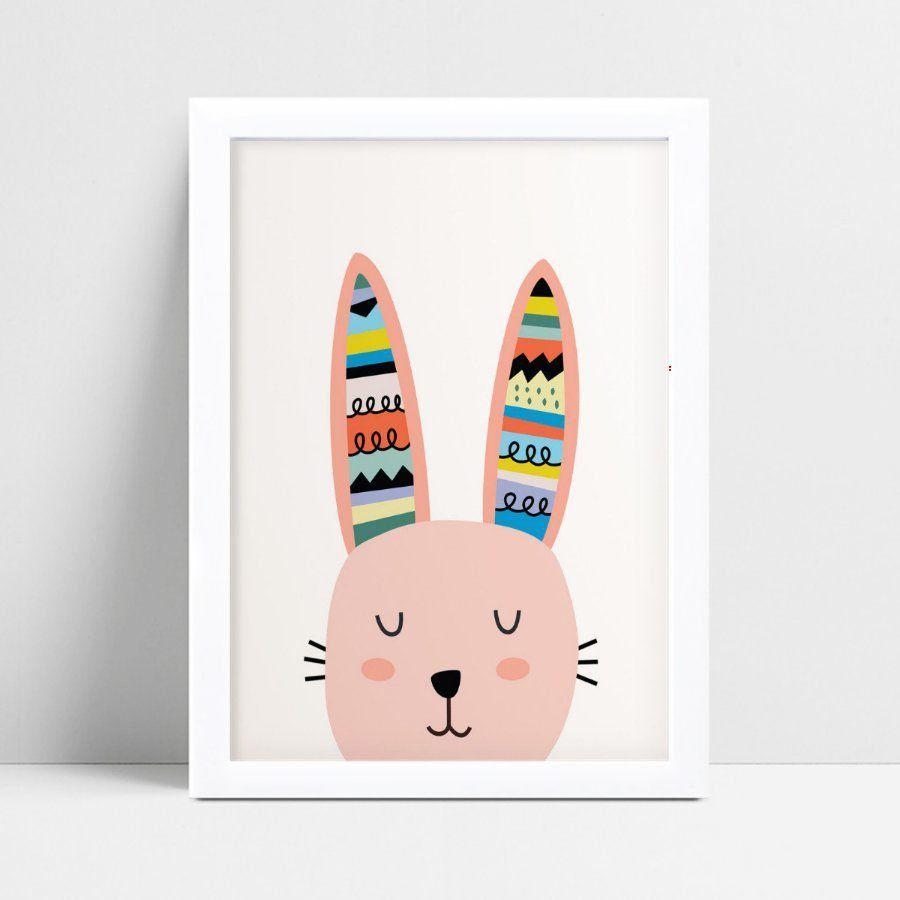 quadro quadro infantil cabeça coelho orelha tribal