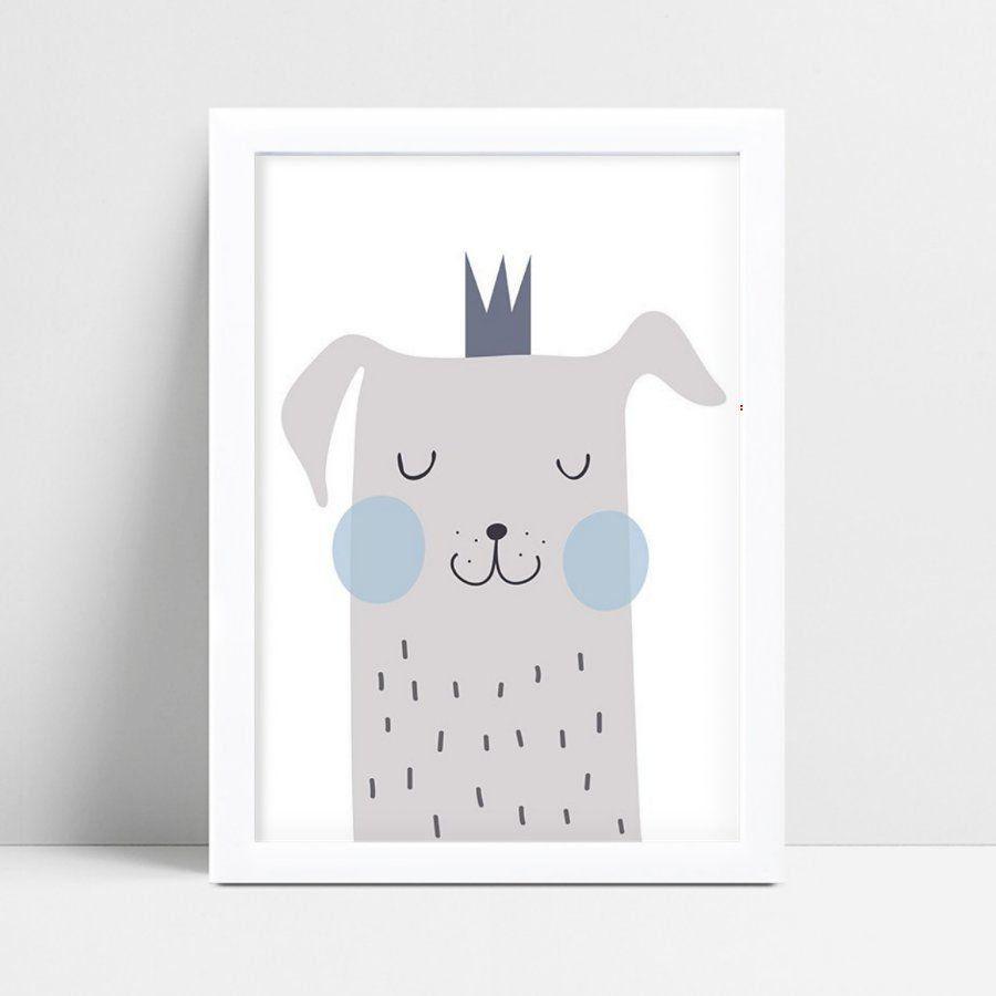 quadro quadro infantil cachorro coroa príncipe