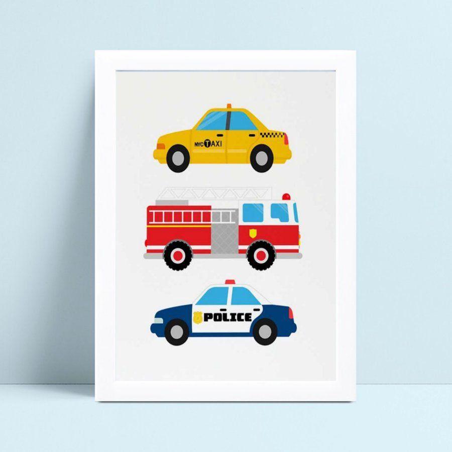 Quadro Quadro Infantil carro polícia táxi caminhão bombeiro
