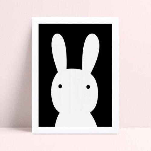 quadro quadro infantil coelho p&b