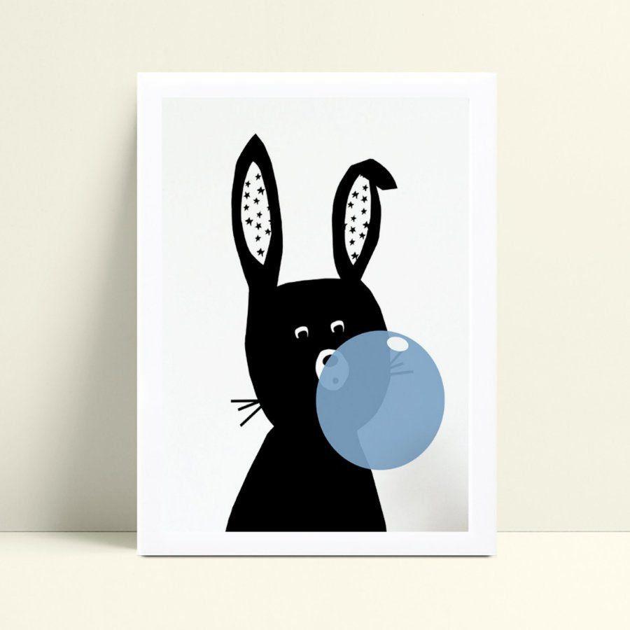 quadro quadro infantil coelho preto chiclete azul
