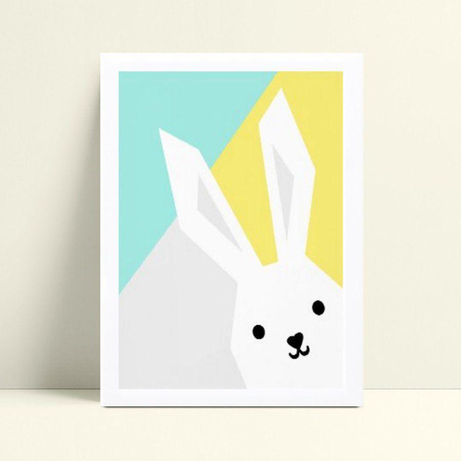 quadro quadro infantil colorido coelho branco