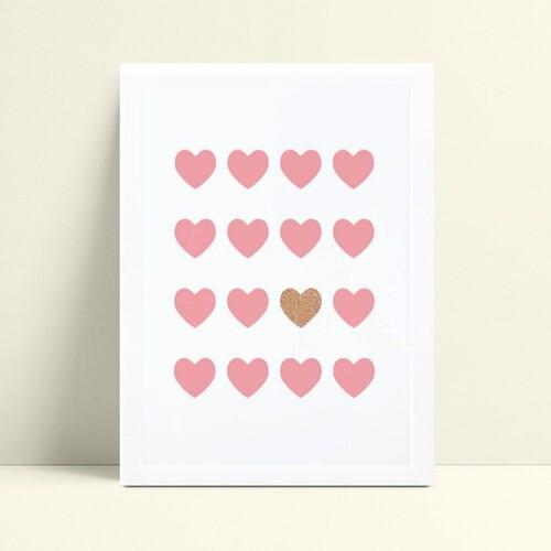 quadro quadro infantil corações rosa