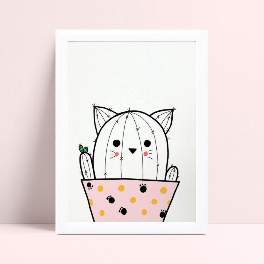 quadro quadro infantil desenho cacto gato