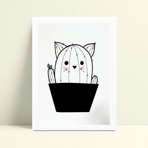 quadro quadro infantil desenho cacto gato p&b