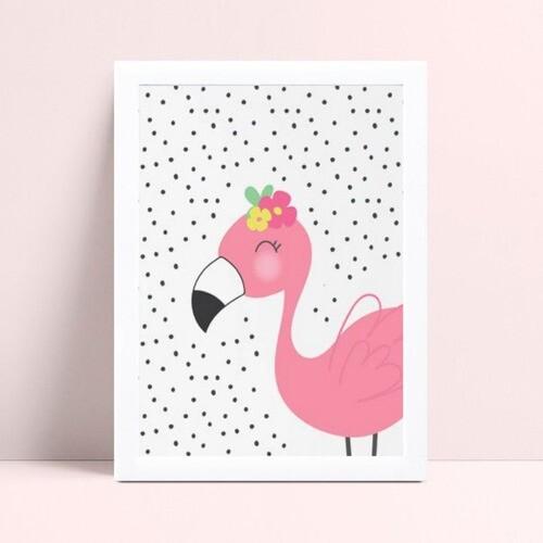 quadro quadro infantil desenho flamingo rosa