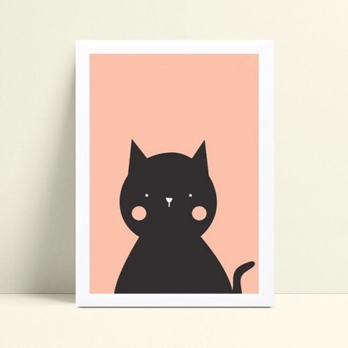 quadro quadro infantil desenho gato preto e rosa