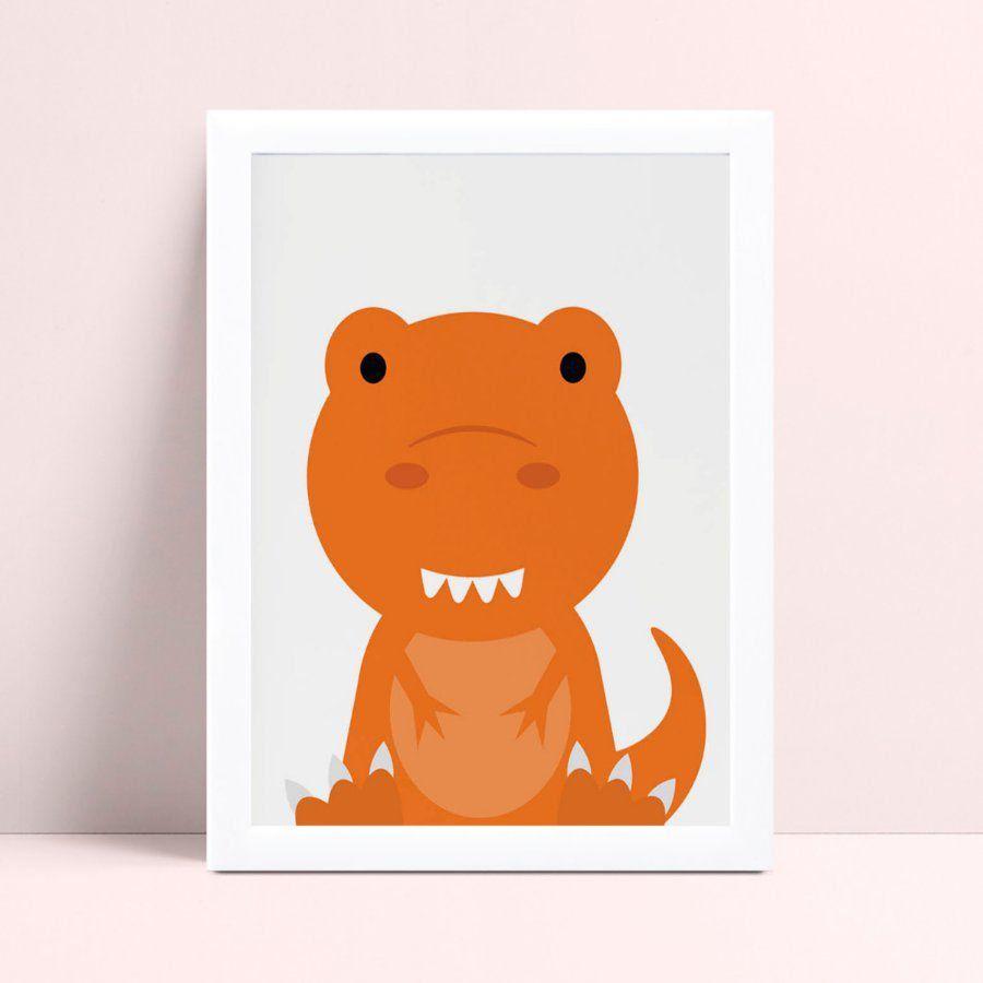 quadro quadro infantil dinossauro bebê laranja