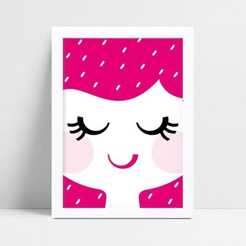 Quadro Quadro Infantil face rosto menina rosa