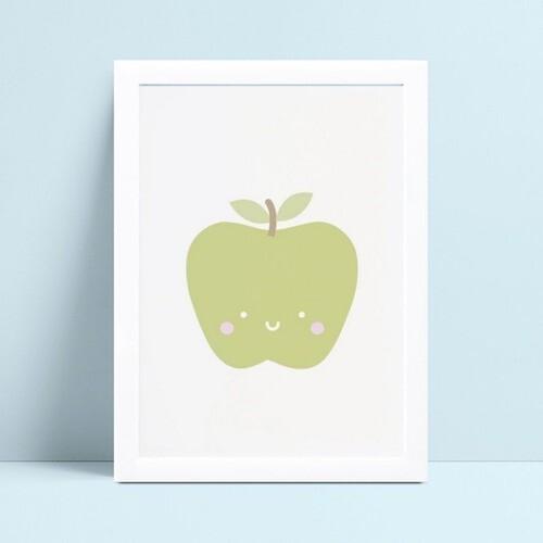 quadro quadro infantil fruta maçã verde