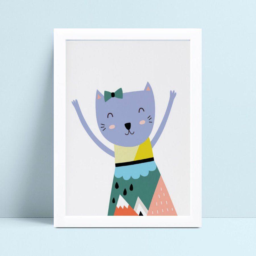 quadro quadro infantil gatinha de vestido colorido