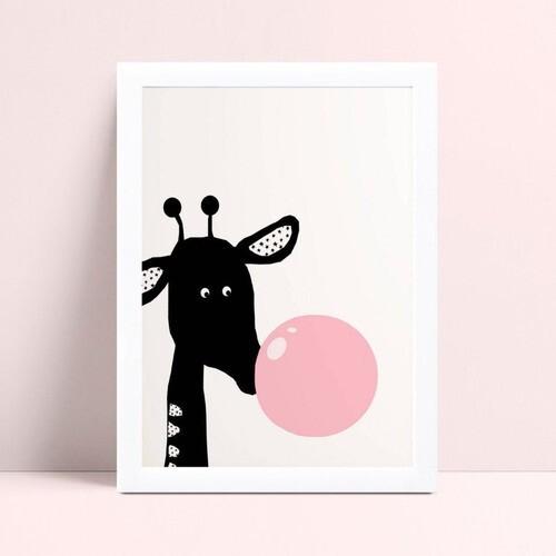 quadro quadro infantil girafa preta chiclete rosa